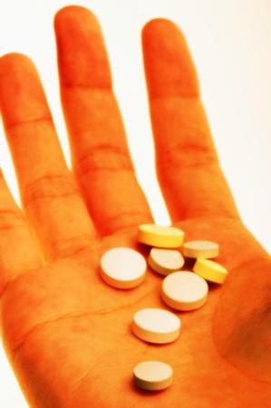 Pills on palm Stock Photo - 12645842