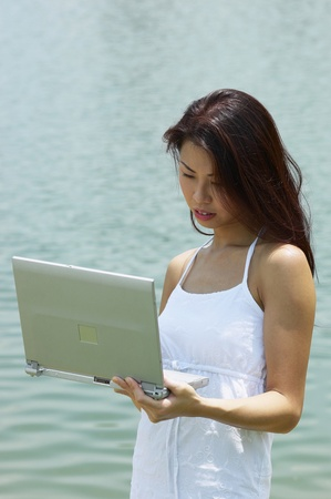 Woman holding a laptop Stock Photo - 12735966