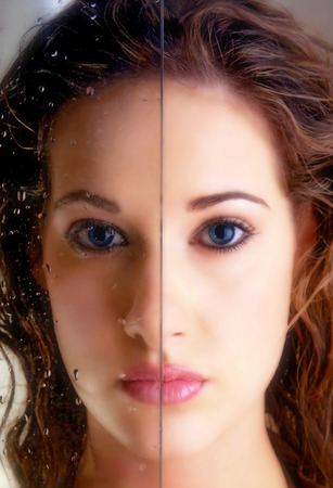 A comparison between two sides of a womans face