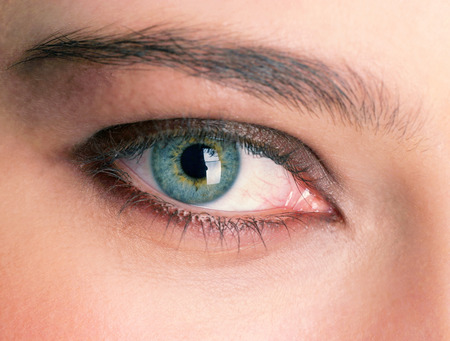 An up-close picture of a beautiful green eye Stock Photo