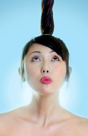 fair complexion: portraits of a woman looking up