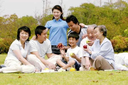 frutas divertidas: Picnic familiar en el parque