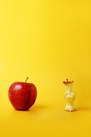 apple core: Whole apple and apple core