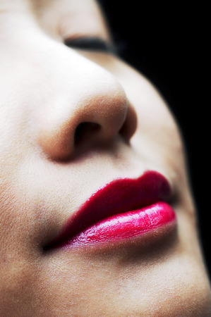 fair complexion: Close-up of a womans face with makeup