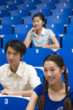 lecture theatre: College students paying attention in the class