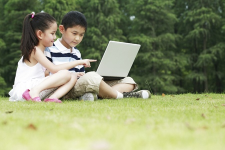 he   my sister: Brother and sister sharing a laptop in the park