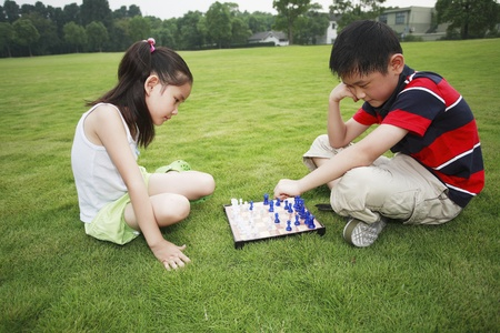 he   my sister: Brother and sister playing chess game in the park