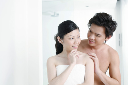 bare waist: Man and woman in the bathroom