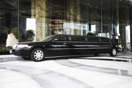 Limousine parked in front of a hotel