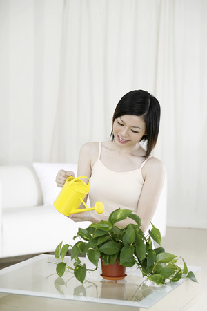 watering plant: Woman watering plant LANG_EVOIMAGES