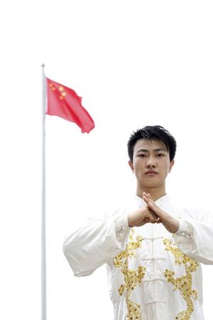 practising: Man practising martial arts