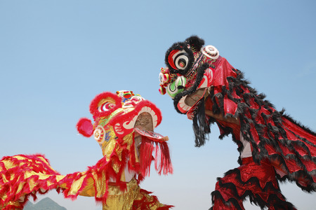 Performers in lion costume Banco de Imagens