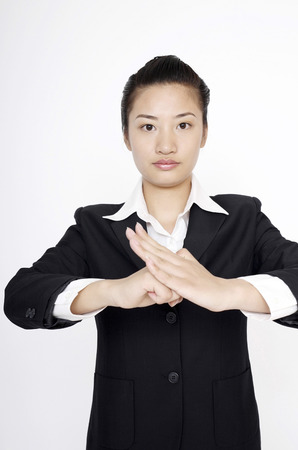 social grace: Businesswoman giving respect