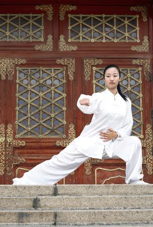 martial arts woman: Woman practising martial arts