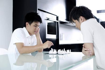 jugando ajedrez: Hombres que juegan al juego de ajedrez