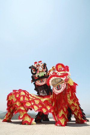 performers: Performers in lion costume LANG_EVOIMAGES