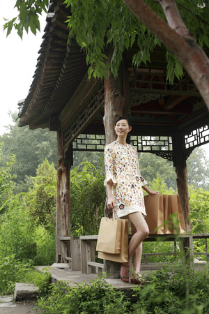 wooden hut: Woman holding shopping bags at a wooden hut LANG_EVOIMAGES