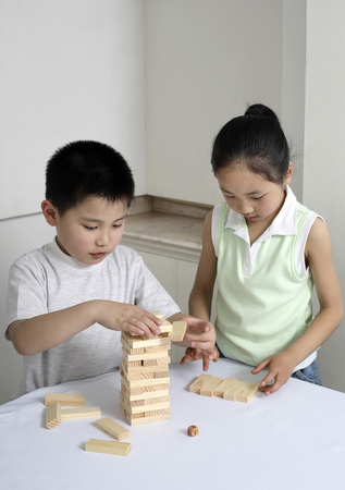 he   my sister: Brother and sister playing wooden block game