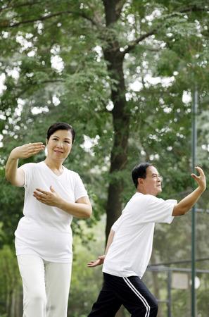 practising: Senior man and woman practising tai chi in the park LANG_EVOIMAGES
