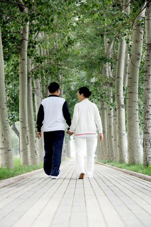 holding hands while walking: Senior man and woman holding hands while walking in the park