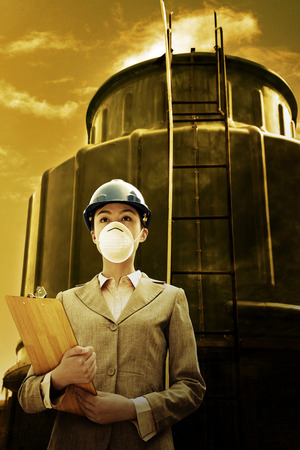 surgical mask woman: Woman in business suit, hardhat and clipboard LANG_EVOIMAGES