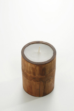 candle holder: Candle in bamboo holder