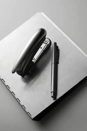 fastening objects: Pen and stapler on file