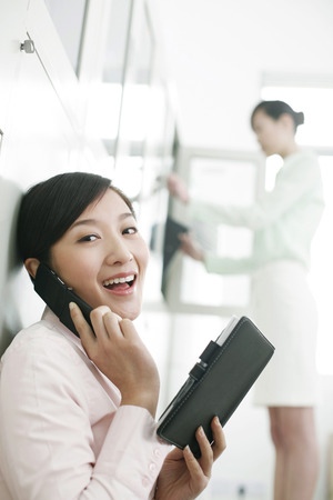 workmate: Businesswoman talking on the phone, colleague searching for files in the background