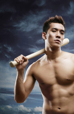 bare waist: Man posing with baseball bat