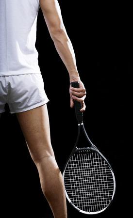 tennis racquet: Man with a tennis racquet LANG_EVOIMAGES