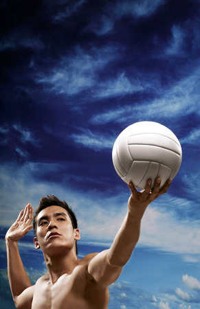 bare chested: Man serving ball