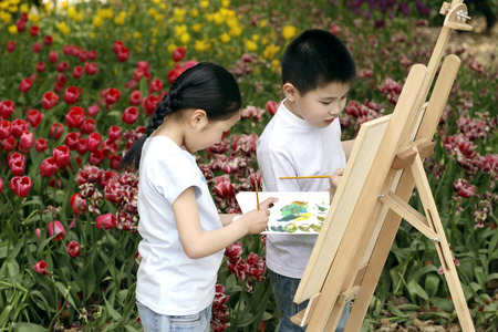 check ups: Boy and girl painting