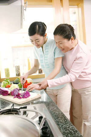 cutting vegetables: Two women cutting vegetables in the kitchen LANG_EVOIMAGES