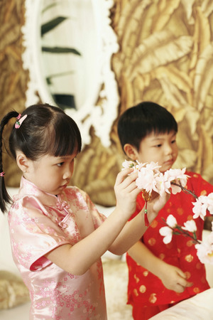 home decorating: Boy and girl decorating flowers at home