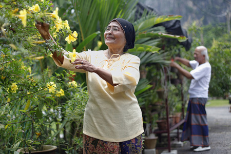 woman gardening: Senior man and woman gardening