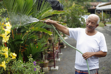 watering plants: Senior man watering plants