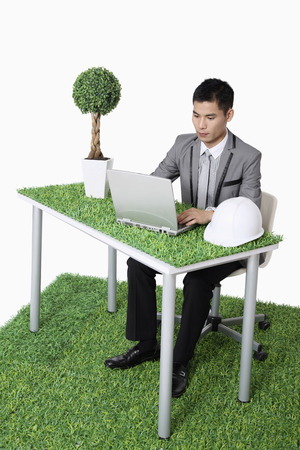 environmental issue: Businessman using laptop
