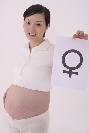 contentment: Pregnant woman holding girl symbol LANG_EVOIMAGES