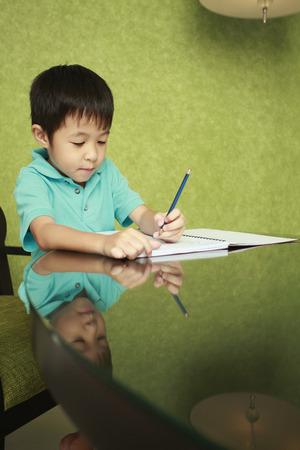doing: Boy doing his homework