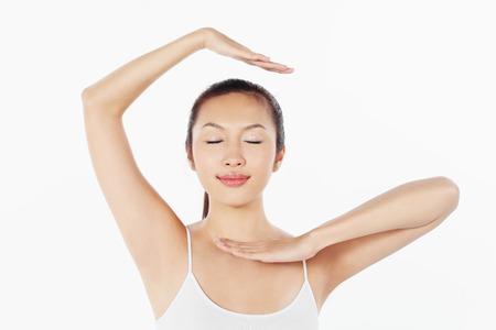 practising: Woman practising yoga