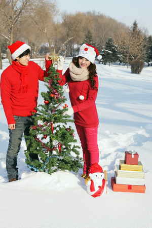 decorating christmas tree: Man and woman decorating Christmas tree LANG_EVOIMAGES
