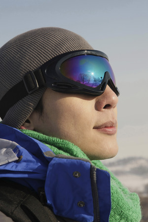 ski goggles: Man with ski goggles