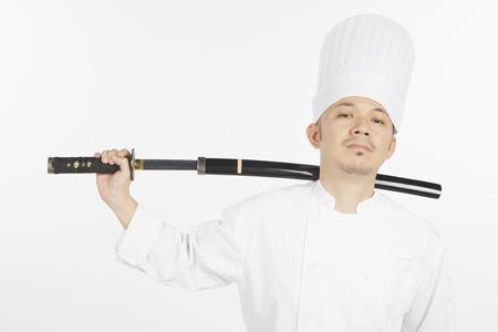 samurai sword: Asian chef with a samurai sword