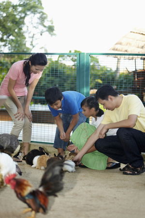 petting: Family at petting zoo LANG_EVOIMAGES