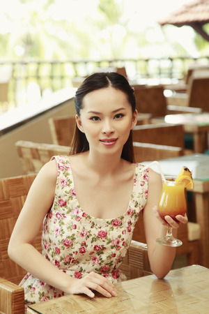 fruit juice: Woman with a glass of fruit juice