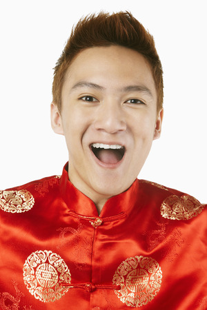 traditional clothing: Happy man in traditional clothing laughing