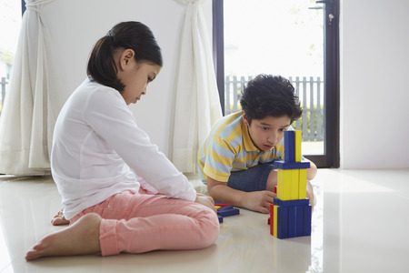 pre adolescent boys: Boy and girl playing with building blocks together