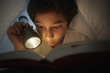 torch light: Boy reading book under blanket with a torch light