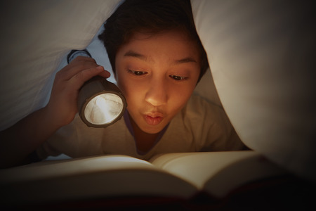 pre adolescent boys: Boy reading book under blanket with a torch light