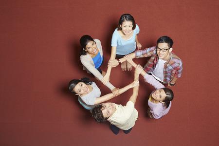 Students having a team huddle
